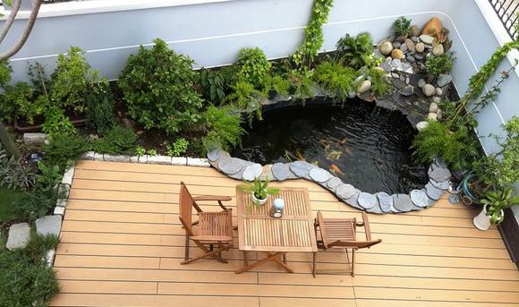 Mẫu hồ cá Koi trên sân thượng